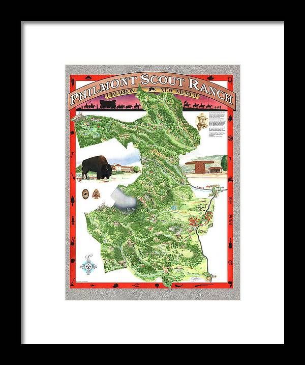 Cimarron Framed Print featuring the painting Philmont Scout Ranch Poster Art by Philippe Plouchart