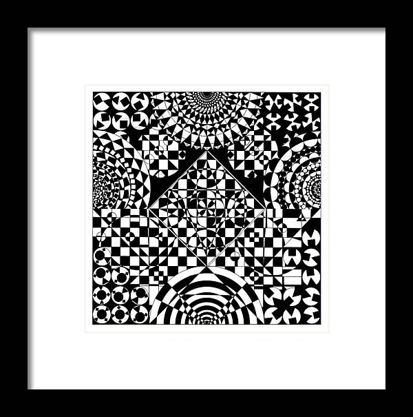 Philosopher Kaleidoscope Stone Square Circle Triangle Design Shapes Primitives 2d Pattern Math Framed Print featuring the drawing Philosophers Kaleidoscope by Priscilla Vogelbacher
