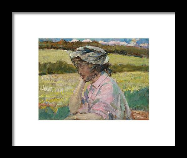 James Carroll Beckwith Framed Print featuring the painting Phoebe At Onteora by James Carroll Beckwith