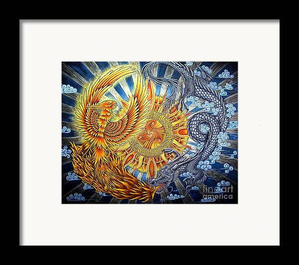 Chinese Dragon Framed Print featuring the pastel Phoenix And Dragon by Rebecca Wang