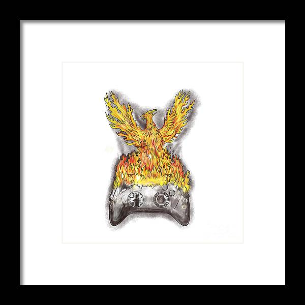 Tattoo Framed Print featuring the digital art Phoenix Rising Over Burning Game Controller Tattoo by Aloysius Patrimonio