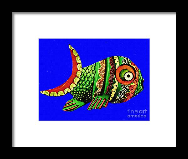 Fish Framed Print featuring the mixed media Phred Phish by Sarah Loft
