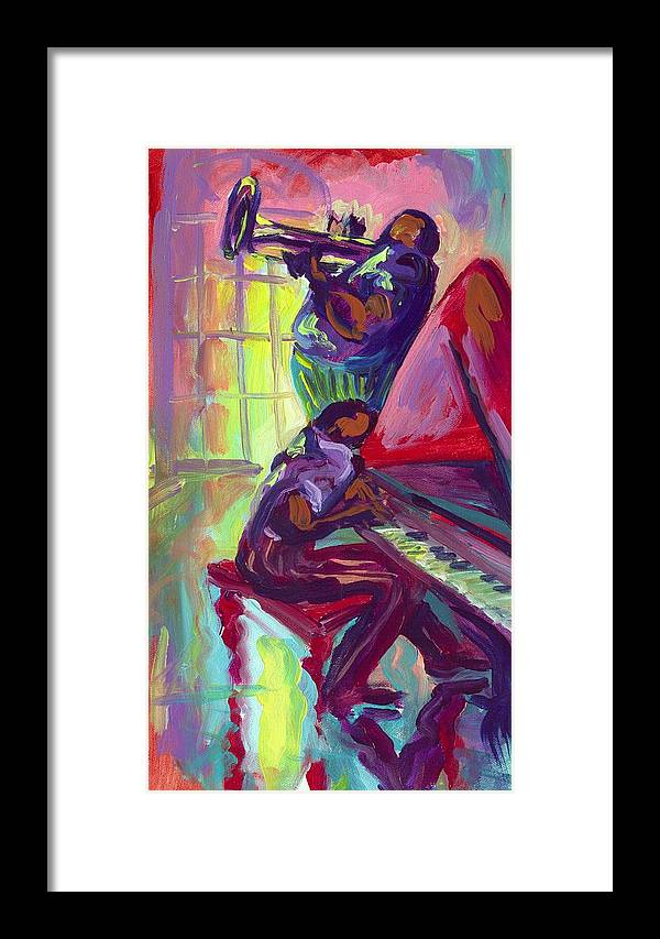 Piano Framed Print featuring the painting Piano And Trumpet by Saundra Bolen Samuel