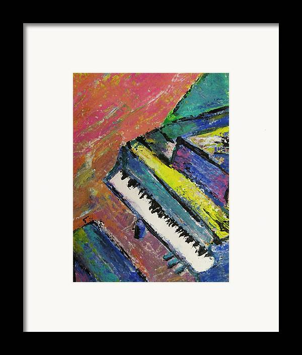 Music Framed Print featuring the painting Piano With Yellow by Anita Burgermeister