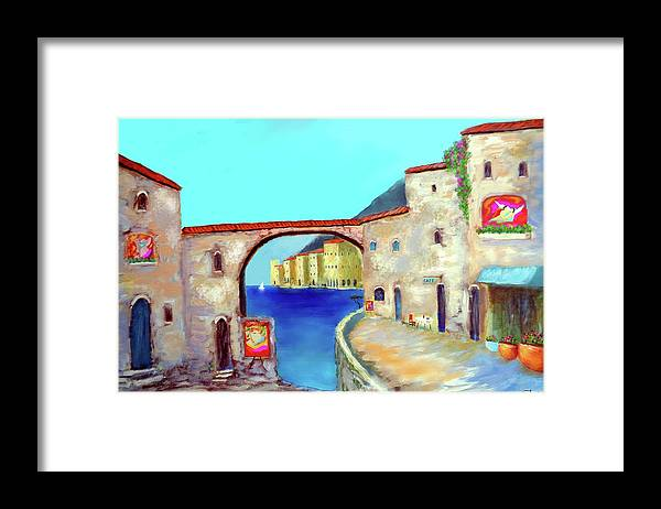 Italy Mediterranean Art Framed Print featuring the painting Piazza Del La Artista by Larry Cirigliano