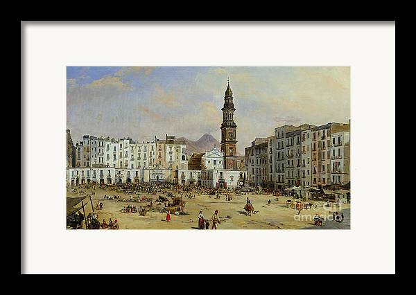 Piazza Framed Print featuring the painting Piazza Mazaniello In Naples by Jean Auguste Bard