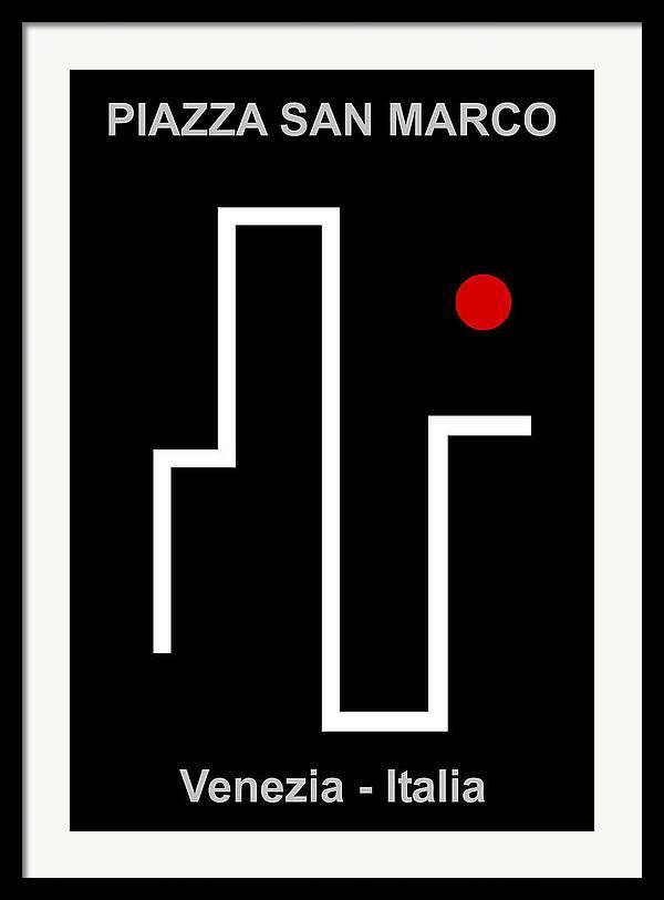 Piazza San Marco Framed Print featuring the digital art Piazza San Marco - Venezia Italia by Asbjorn Lonvig