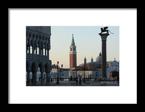 Venice Framed Print featuring the photograph Piazzetta San Marco in Venice in the Morning with Sweepers by Michael Henderson