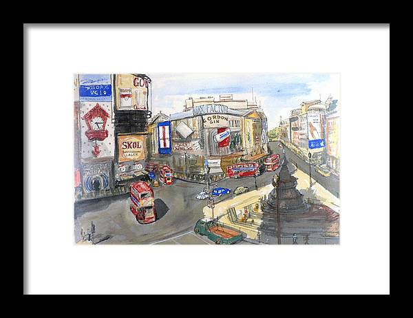 Street Scene Framed Print featuring the painting Picadilly Circus by Dan Bozich
