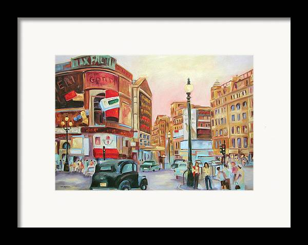 Cityscape Framed Print featuring the painting Picadilly by Ginger Concepcion