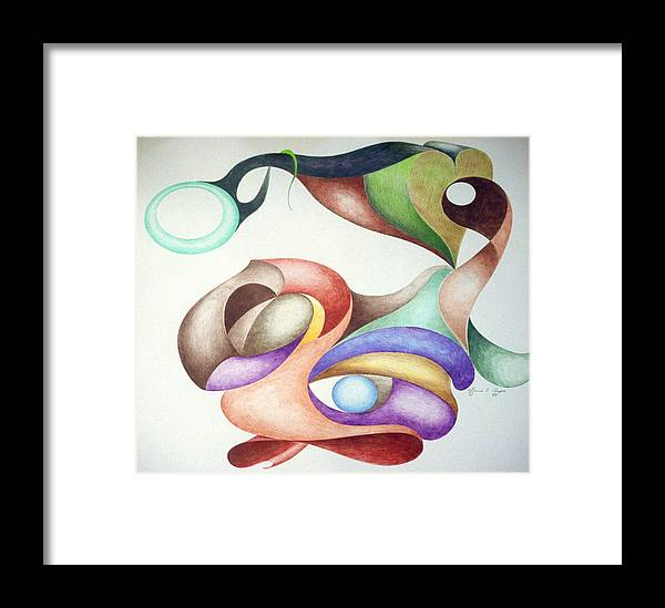 Spontaneous Framed Print featuring the drawing Picasso Parrot by Lonnie Tapia