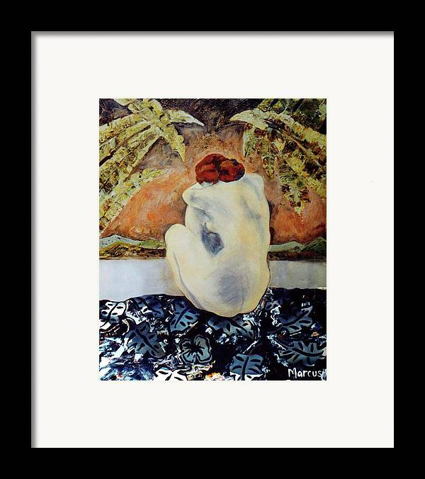 Female Framed Print featuring the painting Picasso's Hawaii by Leslie Marcus