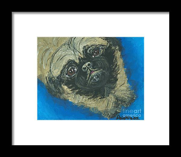Peke Framed Print featuring the painting Pick Me Up by Ania M Milo