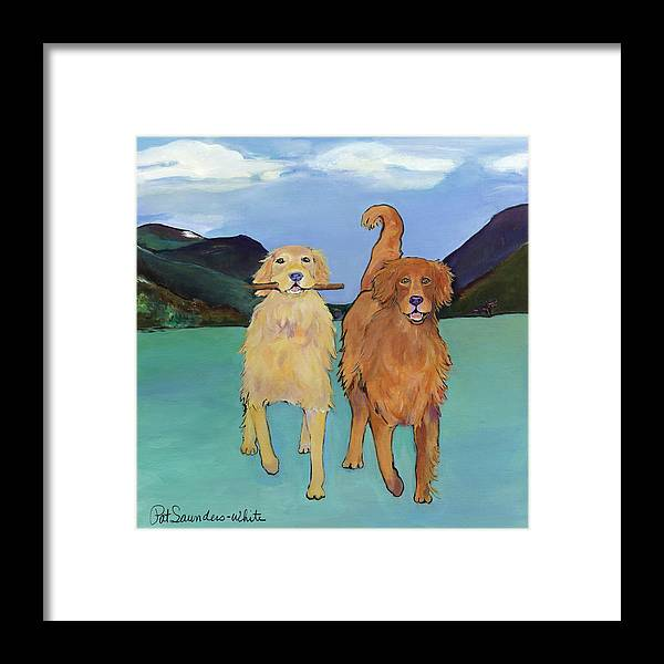 Golden Retrievers Framed Print featuring the painting Pick-Up Sticks by Pat Saunders-White