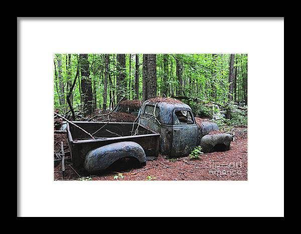 Vintage Truck Framed Print featuring the photograph Pick Up Truck In The Woods by Edward Crestoni