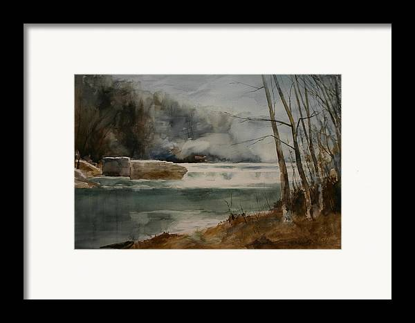 Landscape Framed Print featuring the painting Picketts Dam by Don Cull