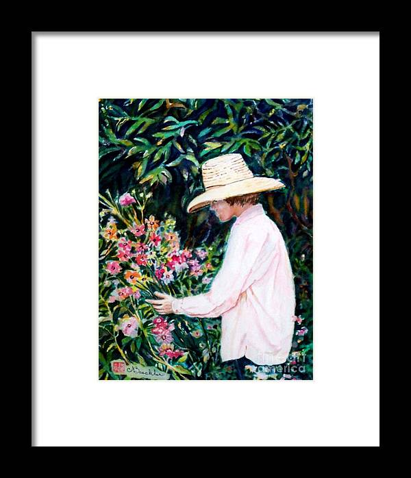 People Framed Print featuring the painting Picking A Bouquet by Norma Boeckler