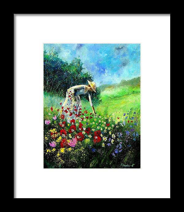 Poppies Framed Print featuring the painting Picking Flower by Pol Ledent