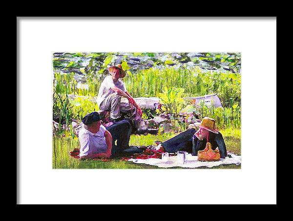 Lake Framed Print featuring the painting Picnic By The Lake by Randy Sprout
