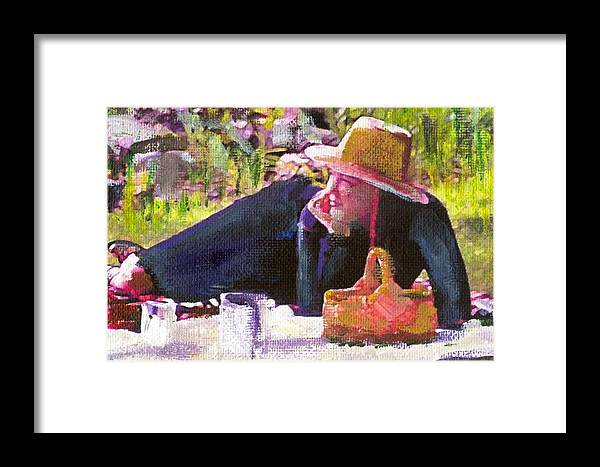 Framed Print featuring the painting Picnic By The Lake With Laurel by Randy Sprout