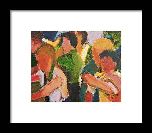 Oil Framed Print featuring the painting Picnic Games by Bob Dornberg