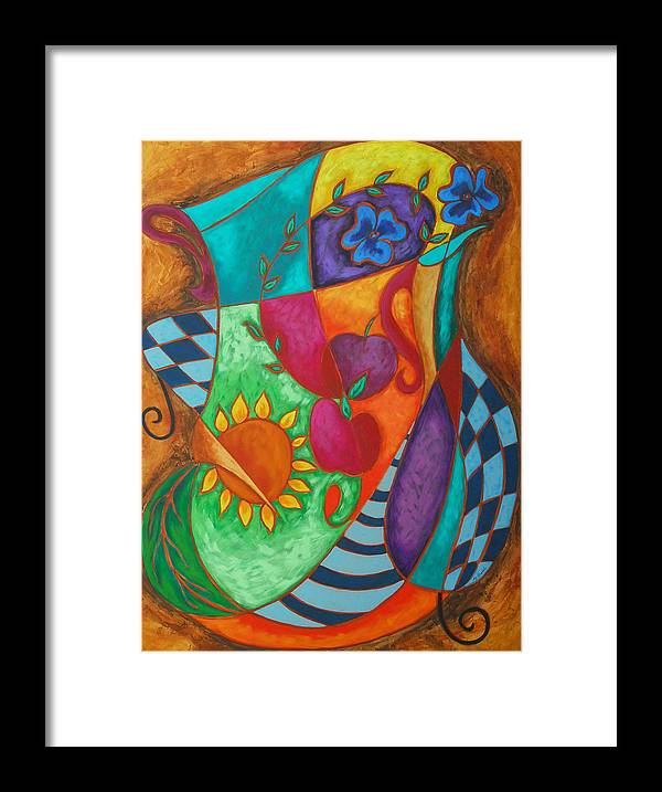 Abstract Expressionism Framed Print featuring the painting Picnic In A Sunny Day by Marta Giraldo