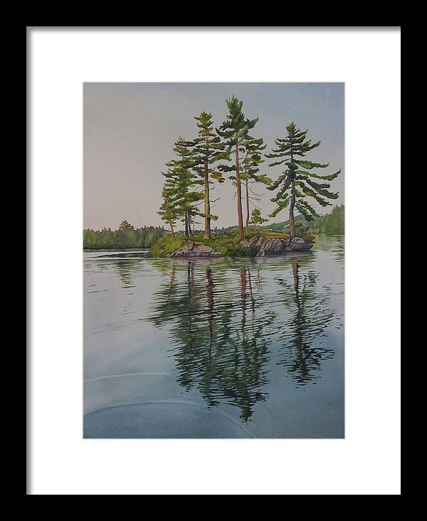 Lake Framed Print featuring the painting Picnic Island At Dawn by Debbie Homewood