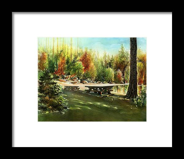 Landscape Framed Print featuring the painting Picnick Tables by Dumitru Barliga