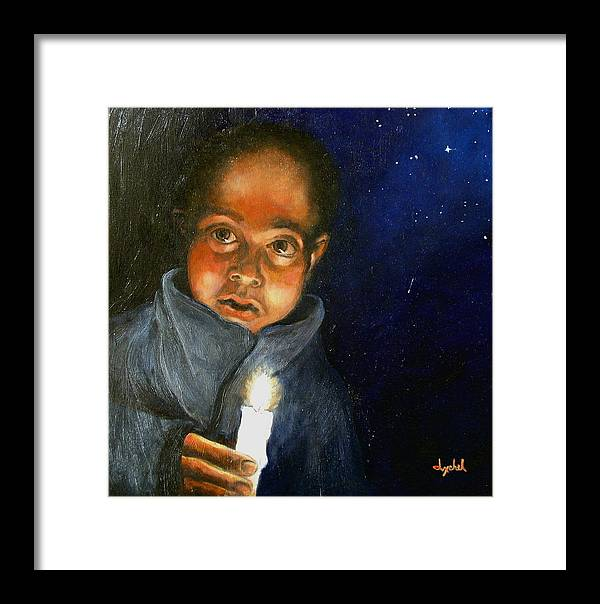 Child Framed Print featuring the painting Pidiendo Posada by Ixchel Amor