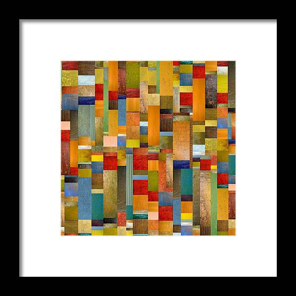 Multicolored Framed Print featuring the painting Pieces Parts by Michelle Calkins