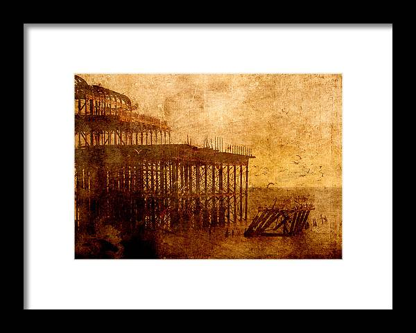 Sepia Framed Print featuring the digital art Pier into the Depths by Sarah Vernon