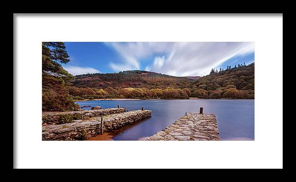 Upper Lake Framed Print featuring the photograph Pier On The Upper Lake In Glendalough - Wicklow, Ireland by Barry O Carroll