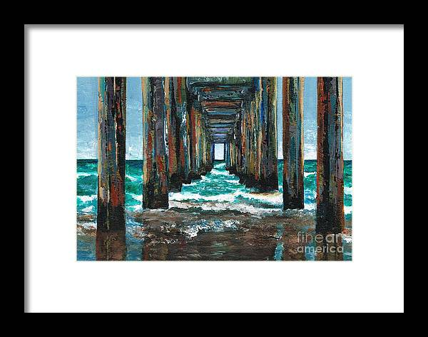 Ocean Framed Print featuring the painting Pier One by Frances Marino