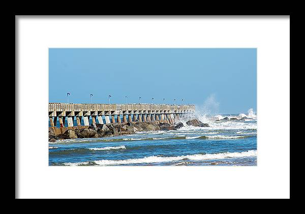 Nature Framed Print featuring the photograph Pier Surf by Kenneth Albin