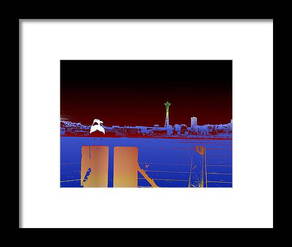 Seattle Framed Print featuring the digital art Pier With A View by Tim Allen