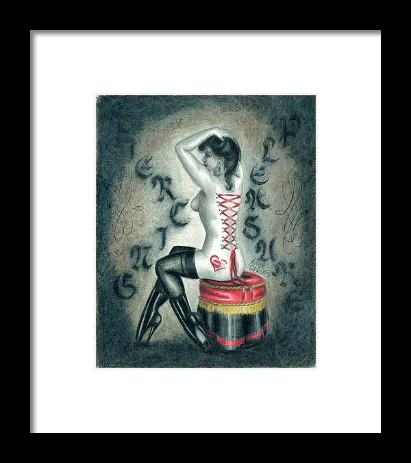 Erotic Framed Print featuring the drawing Piercing Pleasure by Scarlett Royal