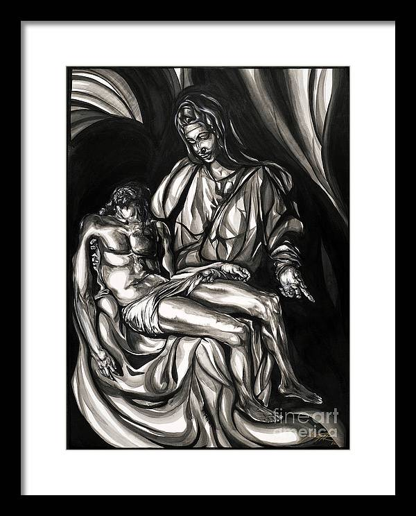 Portrait Framed Print featuring the painting Pieta by Keith Thurman