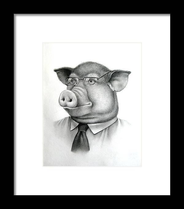 Framed Print featuring the drawing Pig Boss by Vlad Krichenko