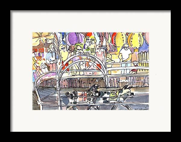 Pig Framed Print featuring the painting Pig Races by Mindy Newman