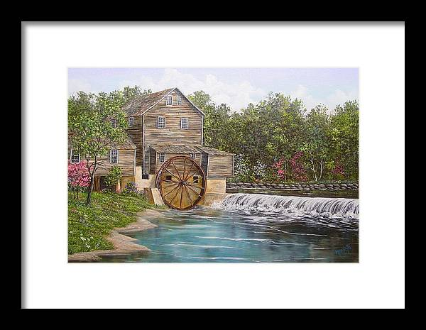 Landscape Framed Print featuring the painting Pigeon Forge Mill by Marveta Foutch