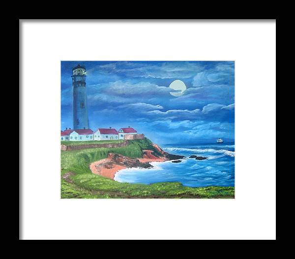 Lighthouse Framed Print featuring the painting Pigeon Point Lighthouse Ca by Mary Kaser