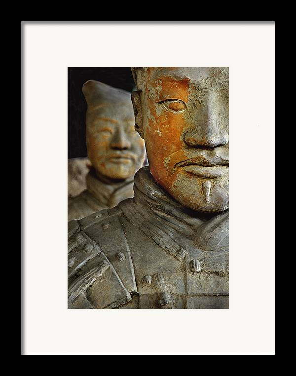 People's Republic Of China Framed Print featuring the photograph Pigment Remains On 2,200 Year Old Terra by O. Louis Mazzatenta