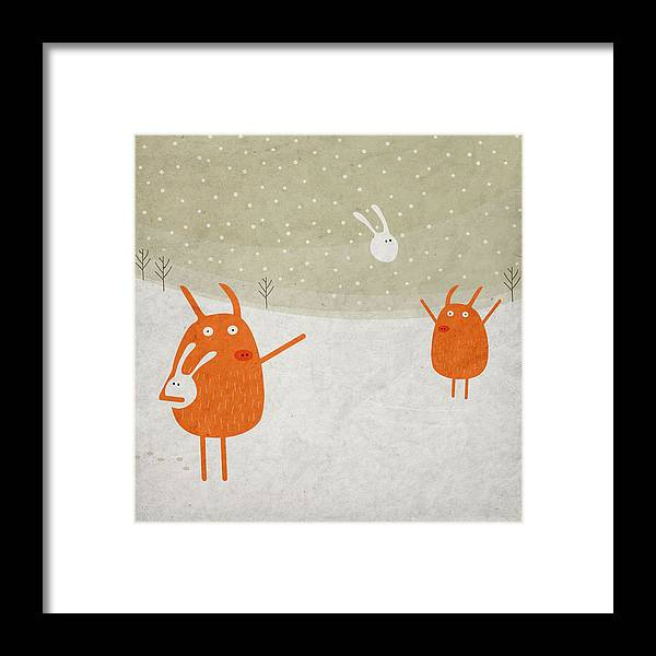 Pig Framed Print featuring the digital art Pigs And Bunnies by Fuzzorama