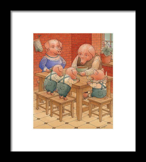 Animals Pig Kitchen Food Family Framed Print featuring the painting Pigs by Kestutis Kasparavicius