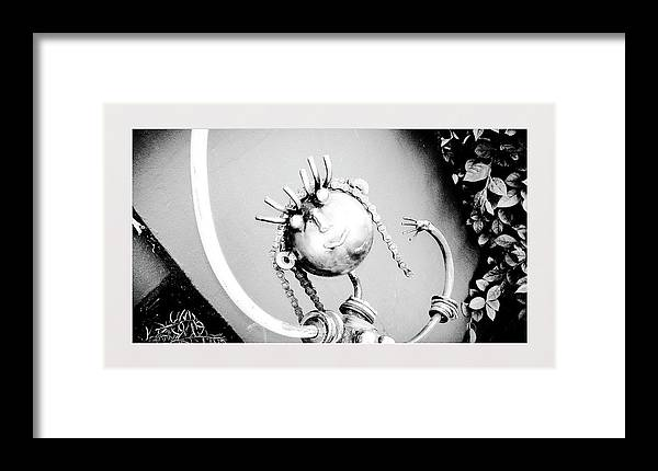 Pigtails Girl Metal Monochrome Framed Print featuring the photograph Pigtails Girl Metal Monochrome by Shirley Anderson