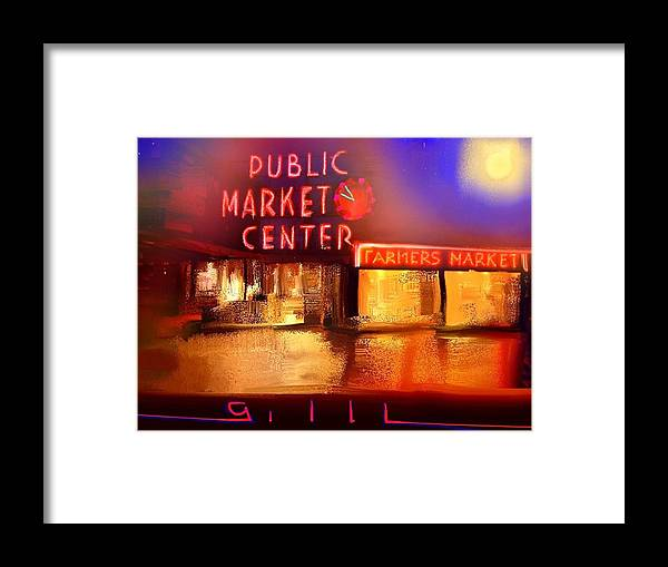 Seattle Framed Print featuring the painting Pike Place Market by Lee Gallaher