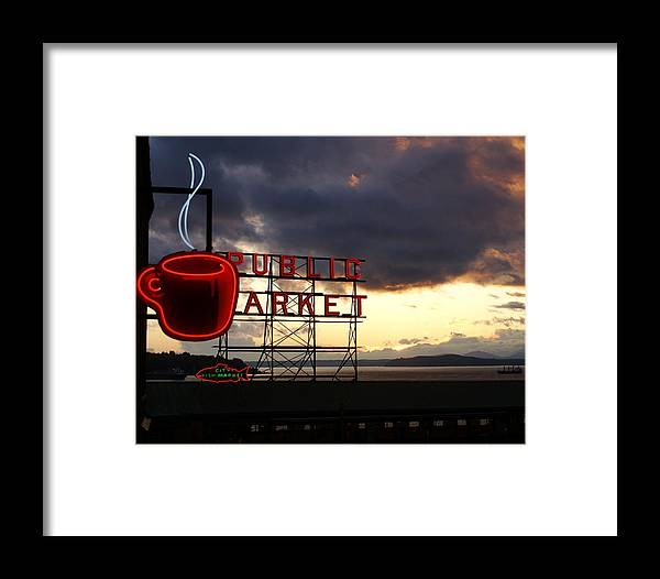Abstract Framed Print featuring the photograph Pike Place Market by Sonja Anderson