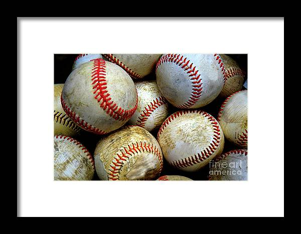 Abstract Framed Print featuring the photograph Pile Or Stack Of Baseballs For Playing Games by Lane Erickson