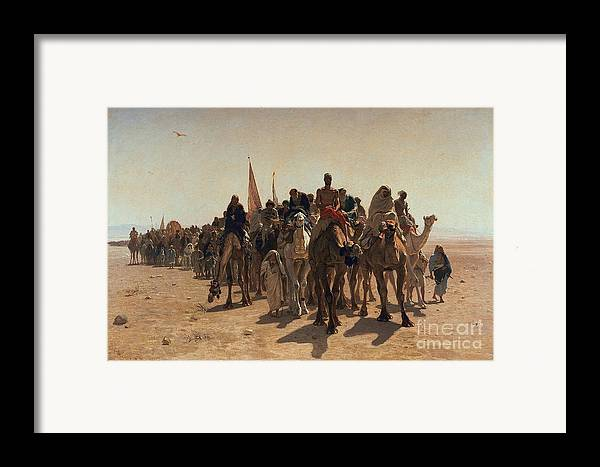 Pilgrims Framed Print featuring the painting Pilgrims Going To Mecca by Leon Auguste Adolphe Belly