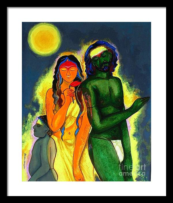 Figurative Framed Print featuring the painting Pilgrims by Padmakar Kappagantula